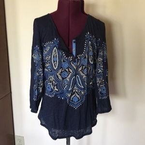 Lucky Brand Blue Print Henley Top M